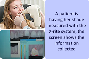 A patient is having her shade measured with the X-rite system and the screen shows the information collected